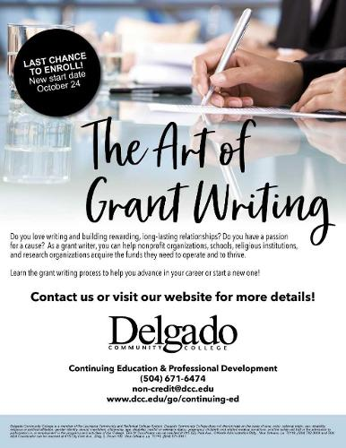 Flyer for the Art of Grant Writing course