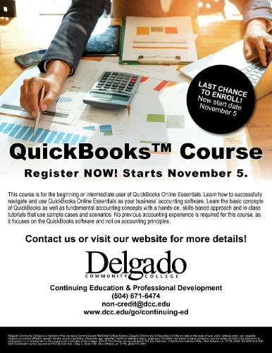 Flyer for the QuickBooks course