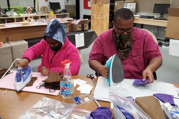 making COVID-19 protective cloth face masks at Fab Lab NOLA