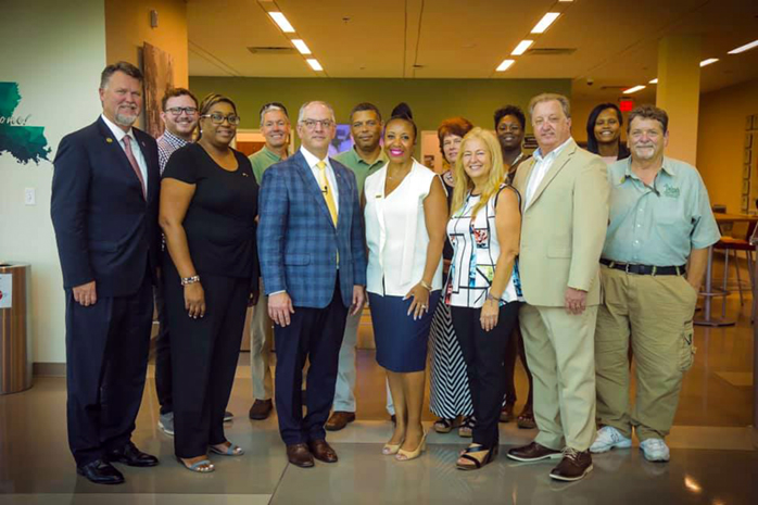 Governor John Bel Edwards met with Delgado and LCTCS leaders at the Delgado Maritime and Industrial Training Facility in New Orleans.