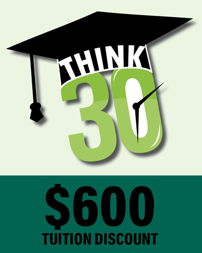 Think 30 icon (graduation hat & think 30 text)