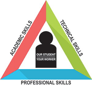 triangle graphic illustrating the three skills our studnets will learn