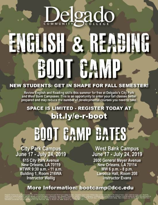 English and reading boot camp registration