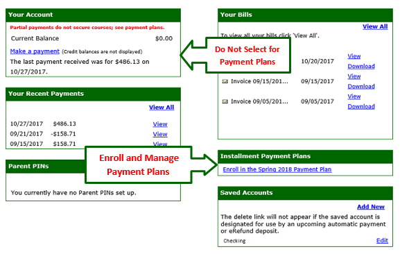 Graphic showing how to select a payment plan in LoLA.