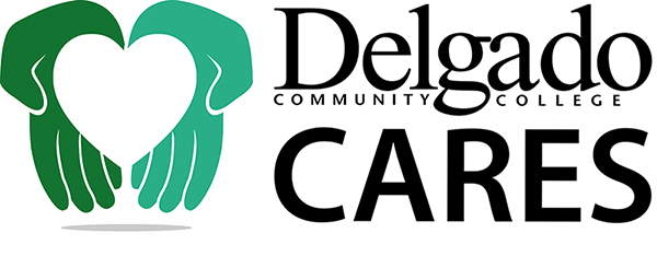 Delgado Cares logo with hands holding a heart