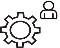 gears & person icon