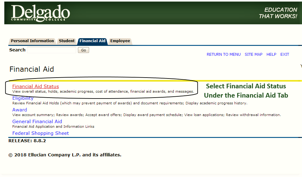 Screenshot of the LoLA screen depicting the selection of the Financial Aid tab and the Financial Aid Status link