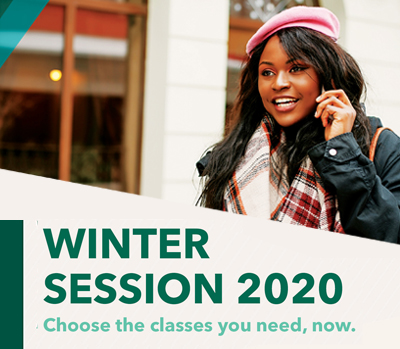 winter session wording with snow background